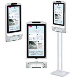 digitaal hand desinfectie display met dispenser voor bezoekers instructies en hygiëne